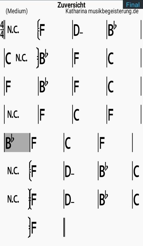 Play-along-App iReal Pro mit Akkordfolgen zur musikalischen Begleitung.