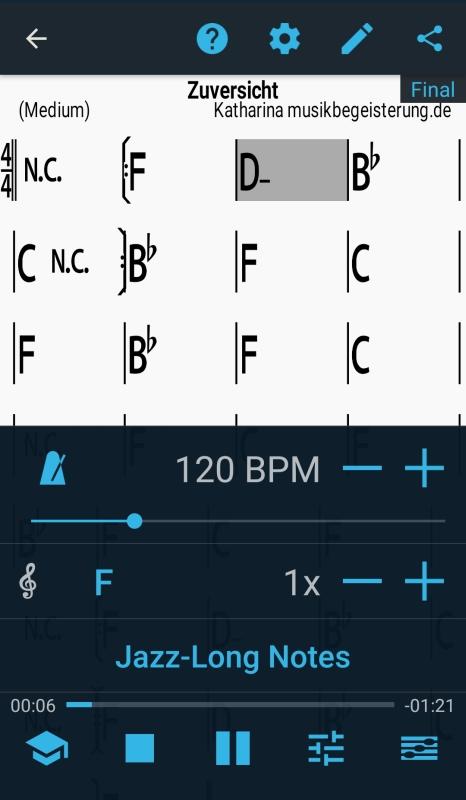 Play-along-App iReal Pro mit Einstellungsmöglichkeiten wie Tonart, Tempo und Musikstil.