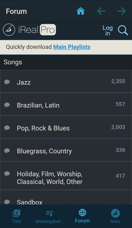 Forum der Playalong-App iReal Pro zum Herunterladen von Akkordfolgen für das Spielen von Songs.