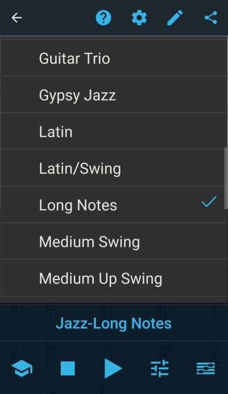 Play-along-App iReal Pro mit verschiedenen Musikstilen zum Begleiten.