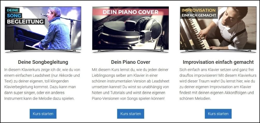 Klavierkurse für Anfänger: Freie Songbegleitung und Improvisation einfach gemacht (Freiklavierspielen.com)