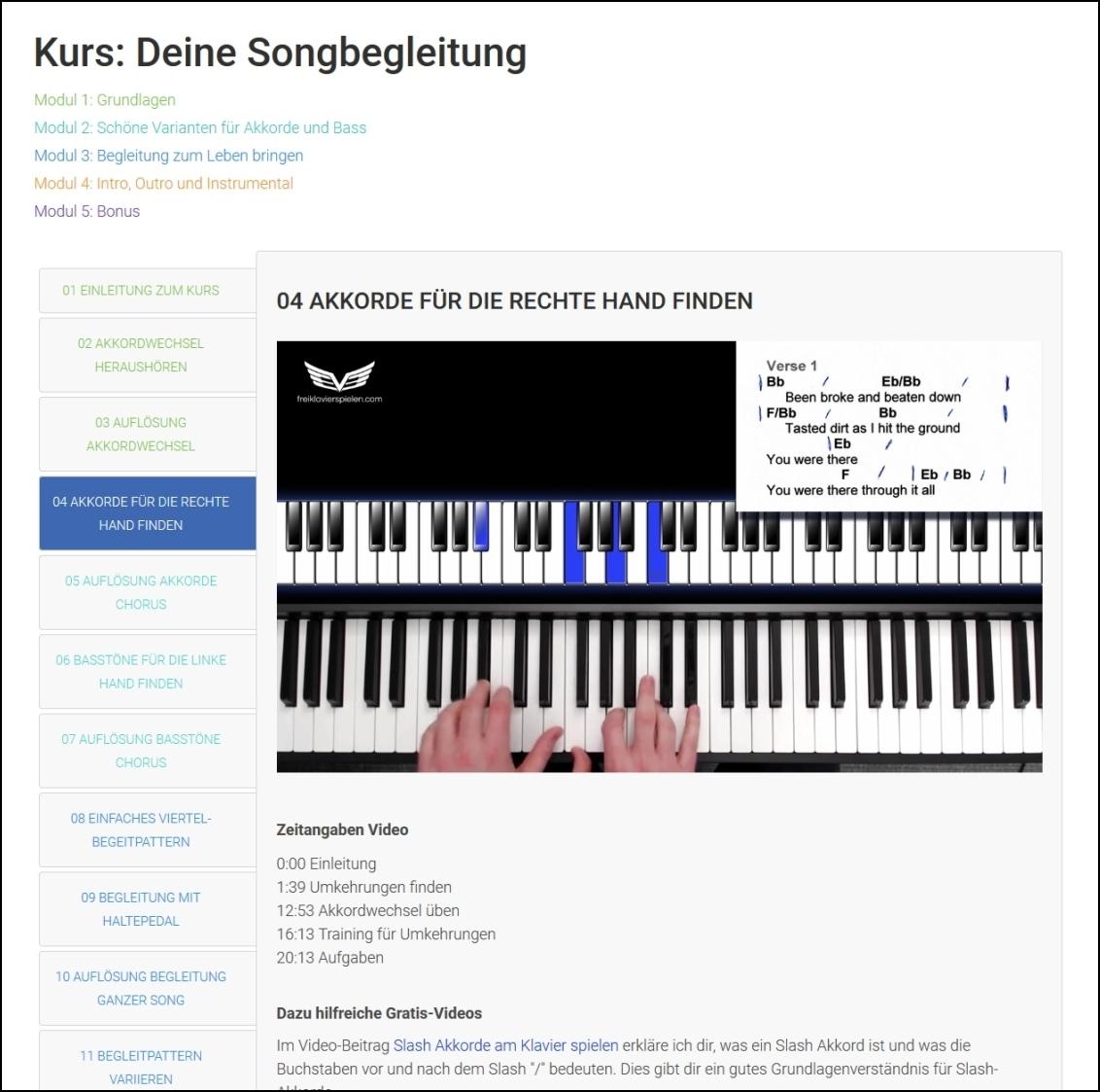 Online Klavier lernen Erfahrungen: Deine Songbegleitung bei Freiklavierspielen.com im Test