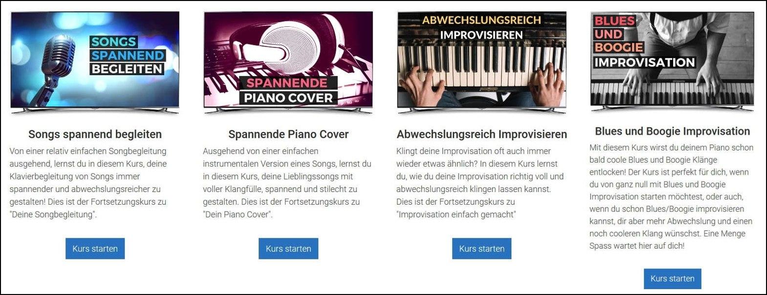 Weiterführende Klavierkurse: Songs spannend begleiten, abwechslungsreich improvisieren, Blues und Boogie Improvisation (Freiklavierspielen.com)